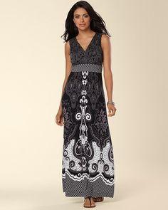 (Soma Intimates Sleeveless Maxi Dress Fable Paisley Black ad51f3980