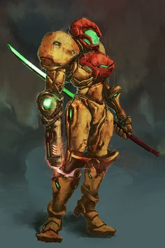 Samurai Samus, Metroid series artwork by Cobalt Plasma. Metroid Samus, Metroid Prime, Samus Aran, Video Game Art, Video Games, Zero Suit Samus, Samurai, Super Metroid, Alien Concept Art