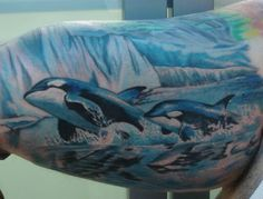 killer whales - tattoo idea- this but with west coast background