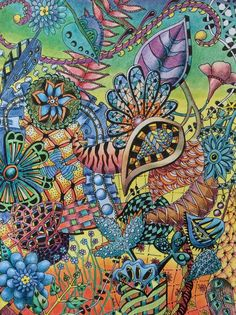 Zentangle, pen, and coloured pencils by Shelley Waring