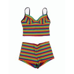 VINTAGE 1990s Rainbow Swimsuit Tank Top Shorts Large ($60) ❤ liked on Polyvore featuring swimwear, bikinis, bikini tops, tops, shorts, underwear, swim suits, swimsuits bikinis, bathing suits bikini and swimsuit swimwear
