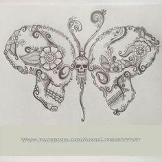 Art skull butterfly tattoo Hand drawing on paper Stock Photo Tatto Skull, Monarch Butterfly Tattoo, Simple Butterfly Tattoo, Butterfly Tattoo Meaning, Sugar Skull Tattoos, Skull Art, Butterfly Tattoos, Sugar Skulls, Mariposa Butterfly