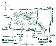 Map to White Oaks Cabins at Patoka Lake