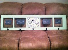 Wall Coat Rack  Cabinet/Hutch door repurposed  Redefining C: 5 hook coat rack with chalkboard vinyl & fabric covered corkboard