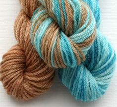 Sock Yarn Mini Skeins Hand Dyed Knitting Wool blue and caramel