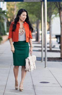 Cute Pencil Skirt Outfits | ... necklace, j. crew heather pine green pencil skirt #fall #outfit #ootd