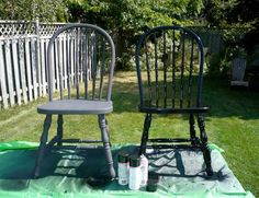 Refresh Windsor style chairs Chair makeover Ask A Designer: How To Wake Up A Tired Dining Room Outdoor Chairs, Outdoor Furniture Sets, Dining Chairs, Dining Room, Outdoor Decor, Chair Redo, Chair Makeover, Black And White Dresser, Diy Furniture Making