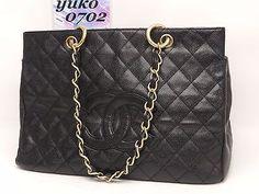 m4626 Auth CHANEL Black Caviar Skin Chain Shoulder Hand Grand Bag Gold HW