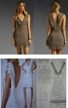 Diy Crafts - crochet dress with chart LOVE IT! R KD Devyn MonTgomery What do you think? Crochet Skirts, Crochet Blouse, Crochet Clothes, Knit Dress, Beau Crochet, Mode Crochet, Crochet Lace, Diy Crafts Crochet, Crochet Wedding