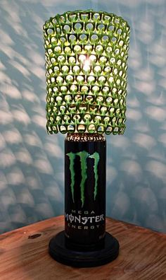 Mega Monster Energy Can Lamp With Lime Green Pull Tab Shade By Licensetocraft 45 00