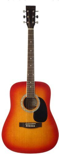 Barcelona Beginner Series 41-Inch Full-Size Dreadnought Acoustic Guitar - Sunburst. Ideal for beginning musicians. Rosewood fretboard and bridge. Stainless diecast tuning pegs.