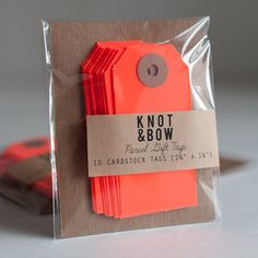 10 Neon Red Parcel Gift Tags by knotandbow on Etsy, $4.00