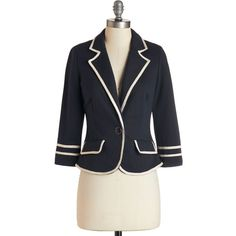 Scholastic 3 Academia Ahoy Blazer ($70) ❤ liked on Polyvore featuring outerwear, jackets, blazers, blazer, modcloth, navy, blue, apparel, navy blazer and blue blazer