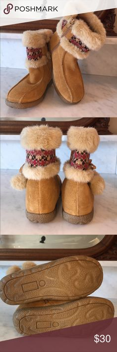 NWOT Cherokee little girl boots made with Sued These are adorable boots made of real Sued leather and have faux fur lining the top as well as the Pom-poms, there is a knitted piece that decides the fur and it has rich colors of pink, brown and tan. They have zippers up the inside and rubber bottoms. Cherokee Shoes Boots