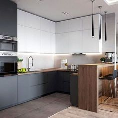If you are looking for Minimalist Kitchen Design Ideas, You come to the right place. Below are the Minimalist Kitchen Design Ideas. Luxury Kitchen Design, Kitchen Room Design, Kitchen Cabinet Design, Kitchen Layout, Home Decor Kitchen, Interior Design Kitchen, New Kitchen, Home Kitchens, Kitchen Ideas
