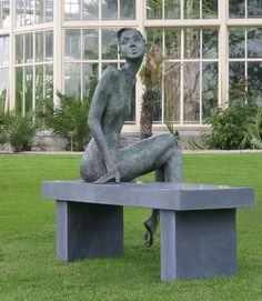 Girl on Bench Sculpture Bob Quinn, Sculpting, Garden Sculpture, It Works, Carving, Studio, Outdoor Decor, Art Station, Irish