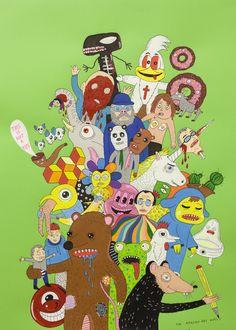 Laurina Paperina - Amazing Art World (green) - 2014 - Mixed media on paper - 70 x 50 cm - © Mazel Galerie