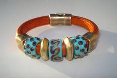 Regaliz Leather Bracelet - Lampwork Beads - Orange Greek Leather