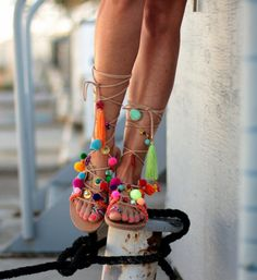 Handmade leather sandals, Chili Mango   A classic old-time Greek sandal made by genuine leather, decorated with colorful friendship bracelets,