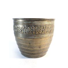 Brass Succulent Planter, French Golden Flower Holder, Centerpiece, Table-Top Trash Can, Christmas Plants, Christmas Deco, Earthenware, Stoneware, Gold Planter, French Flowers, Flower Holder, Golden Flower, Vintage Planters