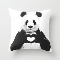 """The Stupell Home Decor Collection 10 in. x 15 in. """"Black and White Panda Bear Making a Heart Ink Illustration"""" by Balazs Solti Wood Wall Art, Multi-Colored Art And Illustration, Illustration Pictures, Love Canvas, Canvas Wall Art, Painting Canvas, Diy Canvas, Canvas Size, Painting & Drawing, Panda Painting"""