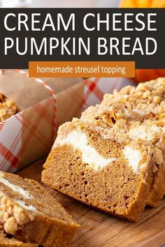 This Pumpkin Cream Cheese Bread Recipe is sinfully moist and delicious with a cheesecake swirl, rich pumpkin spice, and crumb topping. It's the perfect fall dessert for pumpkin season! #pumpkin #pumpkinrecipes #recipes #falldessert #autumn #cheesecake #pumpkinspice