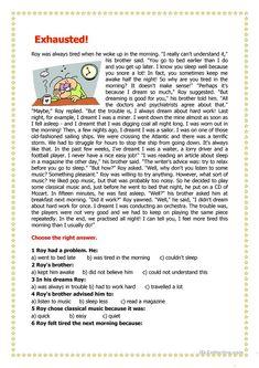 worksheet – Free ESL printable worksheets made by teachers Exhausted! worksheet – Free ESL printable worksheets made by teachers English Reading, English Writing Skills, English Lessons, Learn English, French Lessons, Spanish Lessons, Math Lessons, Reading Comprehension Activities, Reading Worksheets