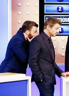 """Chris Evans and Jeremy Renner playing """"Avengers Family Feud"""" on Jimmy Kimmel Live, April 13, 2015"""