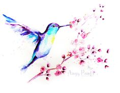 15% Off Sale  Hummingbird  Cherry Blossoms  Bird Art by AngyPaints