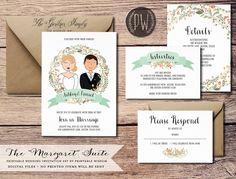 Custom Illustration Printable Wedding Invitation Suite wedding invite whimsical couple drawing, rustic wedding DIY digital invitation set by PrintableWisdom on Etsy https://www.etsy.com/listing/183029327/custom-illustration-printable-wedding