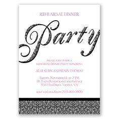 It's time for your rehearsal dinner, and this invitation lets everyone know you have a big party planned! #davidsbridal #invitations #rehearsaldinner