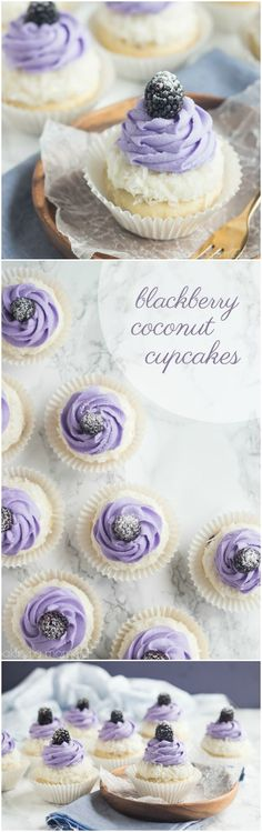 Blackberry Coconut Cupcakes- oh my! So dreamy and light, and that blackberry filling what a fun surprise! Blackberry Coconut Cupcakes- oh my! So dreamy and light, and that blackberry filling what a fun surprise! Cupcake Recipes, Baking Recipes, Cupcake Cakes, Food Cakes, Dessert Recipes, Cupcake Flavors, Baking Cakes, Cupcake Frosting, Bundt Cakes