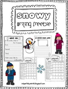 Use this freebie to do some snowy writing with your students. Students will write about their favorite winter activity. There are two choices for format (one has more support). There is also a rubric for each. I hope you enjoy this freebie!