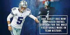 That field goal was Dan Bailey's of his career to pass Rafael Septien for the most field goals made in team history. Dallas Cowboys Quotes, Cowboys 4, Dallas Cowboys Football, Football Helmets, Dan Bailey, Z Nation, America, Baseball Cards, History