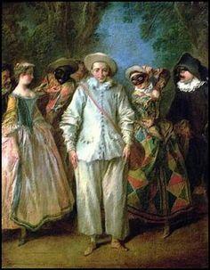 commedia dell'arte  par les grands peintres - Nicolas Lancret (1690-1743)- pierrot et personnages