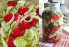 When it comes to classic summer salads, it's hard to beat this Marinated Cucumbers Onions and Tomatoes recipe…It just tastes like summer! This particular recipe is from Womack House, a long ago country kitchen in Fulshear, TX. ingredients:3 medium cucumbers, peeled and sliced 1/4 inch thick1 medium onion, sliced and separated into rings3 medium tomatoes, cut into wedges1/2 cup vinegar1/4 cup sugar1 cup water2 teaspoons salt1 teaspoon fresh coarse ground black pepper1/4 cup oilDirections:Combine Tomato Salad, Cucumber Salad, Pasta Salad, Grape Salad, Marinated Cucumbers, Cucumbers And Onions, Marinated Vegetables, Canning Vegetables, Kimchi