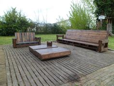 Giant outdoor set all made with repurposed pallets #PalletChair, #PalletSofa, #RecycledPallet