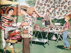 "hollyhocksandtulips: ""Cookout, 1950s """