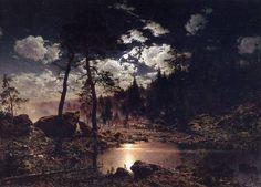 "leirelatent: "" ""Forest Lake in the moonlight"" Hjalmar Munsterhjelm "" Moonlight Painting, Fantastic Art, Twilight, Landscape, Dark, Drawings, Artist, Outdoor, Paintings"
