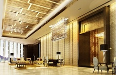 The gorgeous lobby in the new Ritz-Carlton Hong Kong hotel. We hear the elevator can zip you from the 103rd floor to the lobby in 52 seconds.