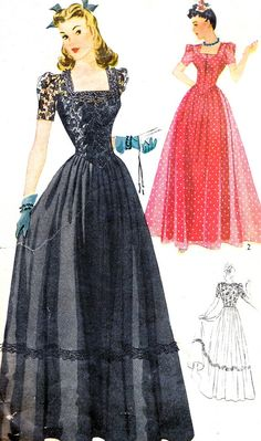 1940s Evening Dress Pattern Simplicity 4065 Full Skirt Evening Gown Square Neck Shaped Waistband Vintage Sewing Pattern Bust 30
