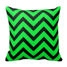 Modern Lime Green Black Chevron Geometric Stripe Pillow