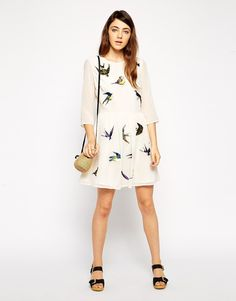 ASOS Skater Dress with pretty bird embroidery
