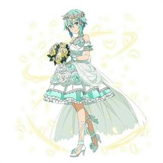 Sinon in a wedding dress Anime Elf, Anime Fairy, Manga Anime, Sinon Ggo, Kirito Asuna, Arte Online, Online Art, Sword Art Online, Shino Sao