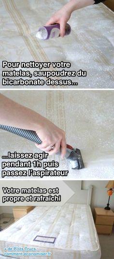 Utilisez du bicarbonate de soude pour nettoyer et rafraîchir votre matelas....réépinglé par Maurie Daboux .•*`*•. ❥