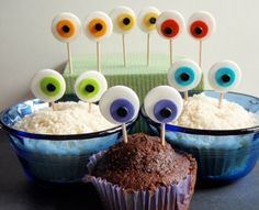 Monster Eyes Edible Fondant Cupcake Topper by KonfectionKreations