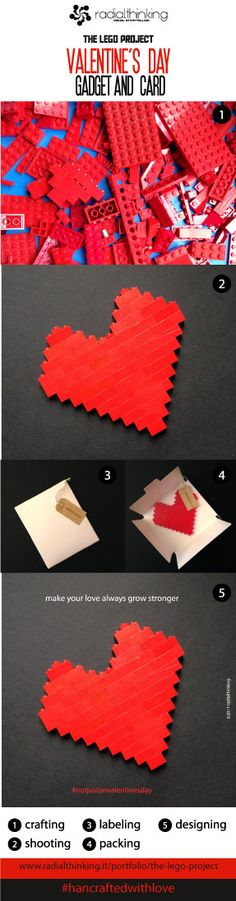 Lego bricks used to create a gadget and a valentine's day card.  #handcraftedwithlove   #creativelego #legobricks #valentinesdaycard #photographics #graphicdesign #creativegadgets #themakingof #valentinesday #valentinesday2017  see the projects http://radialthinking.it/portfolio/the-lego-project