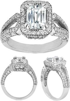 """""""Emerald Cut Diamond Split Band Engagement Ring"""" by mdc-diamonds ❤ liked on Polyvore"""