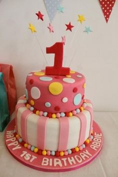 1st Birthday Cake Ideas for Girls red yellow and blue