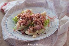 Ensalada de cogollos con jamón y queso al vinagre balsámico
